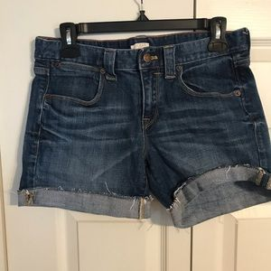 J CREW Stretch Size 2 Denim Jean Shorts Blue